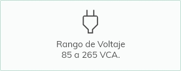 Rango de voltage de 85 a 265 VCA