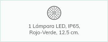 Lámpara LED IP65 rojo y verde de 12.5 cm